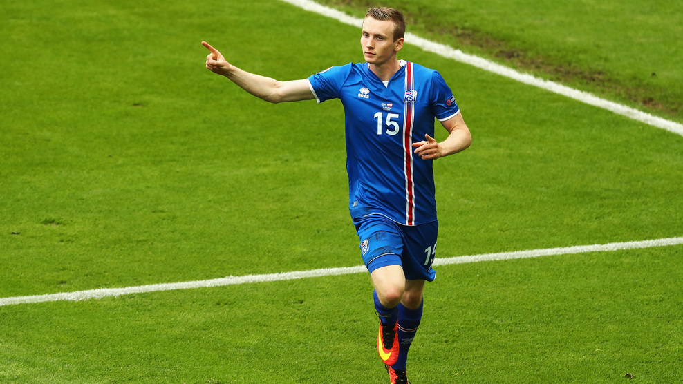 PARIS, FRANCE - JUNE 22: Jon Dadi Bodvarsson of Iceland celebrates scoring his team's first goal during the UEFA EURO 2016 Group F match between Iceland and Austria at Stade de France on June 22, 2016 in Paris, France. (Photo by Clive Mason/Getty Images)