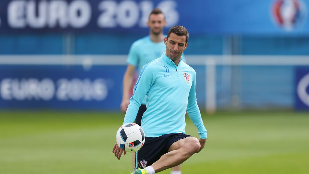 Croatia's defender Darijo Srna attends a training session in Deauville, northwestern France, on June 15, 2016, during the Euro 2016 football tournament. / AFP / CHARLY TRIBALLEAU (Photo credit should read CHARLY TRIBALLEAU/AFP/Getty Images)
