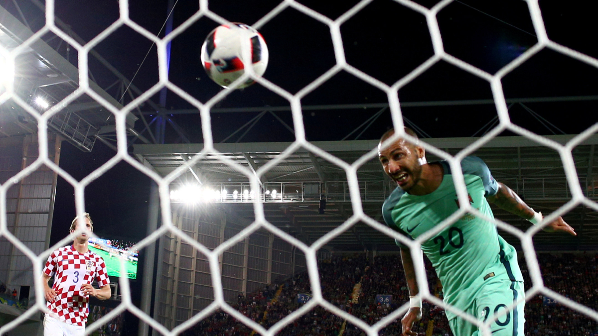 A view of the action between Croatia and Portugal during their UEFA Euro 2016 Round of 16 match