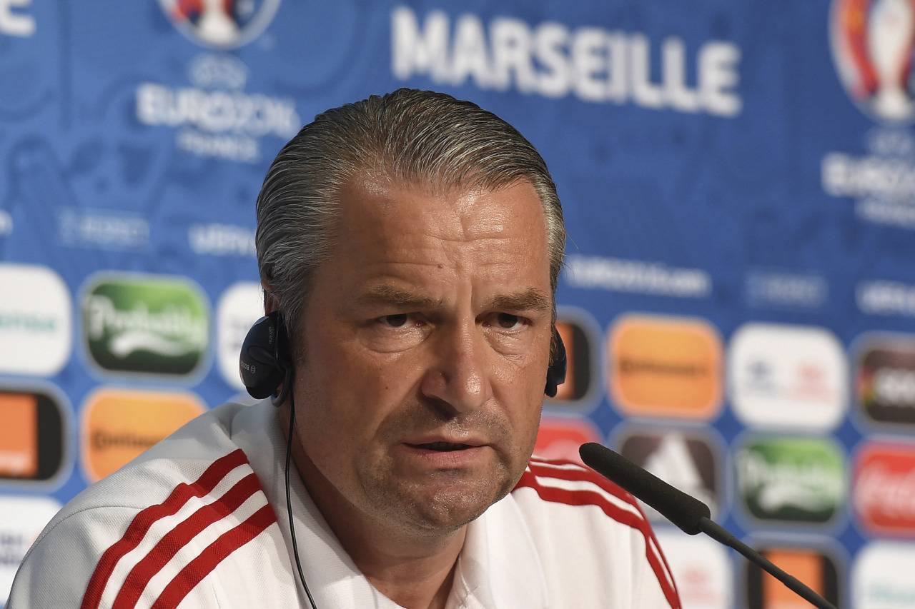 MARSEILLE, FRANCE - JUNE 17: In this handout image provided by UEFA, Hungary head coach Bernd Storck faces the media during the Hungary press conference on June 17, 2016 in Marseille, France. (Photo by Handout/UEFA via Getty Images) Picture credit: UEFA (Handout photo provided by UEFA. Only editorial use relating to the event described is permitted. Photo may be distributed to third parties to use for the same purpose provided that no charge is made).