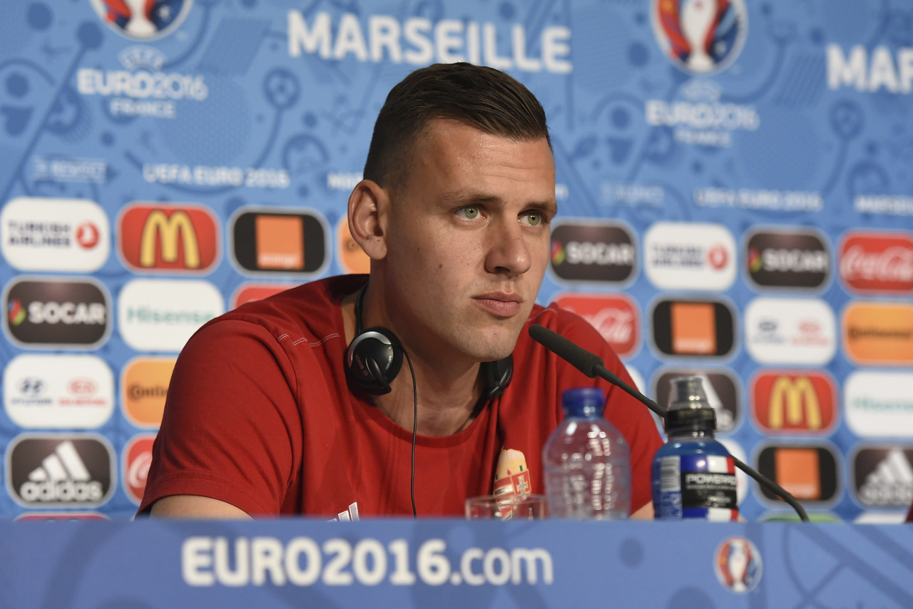 MARSEILLE, FRANCE - JUNE 17: In this handout image provided by UEFA, Adam Szalai of Hungary faces the media during the Hungary press conference on June 17, 2016 in Marseille, France. (Photo by Handout/UEFA via Getty Images) Picture credit: UEFA (Handout photo provided by UEFA. Only editorial use relating to the event described is permitted. Photo may be distributed to third parties to use for the same purpose provided that no charge is made).