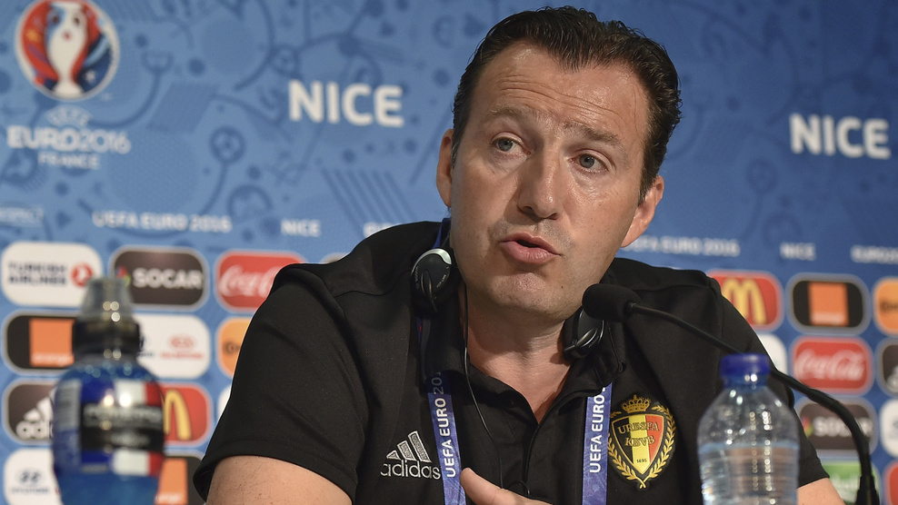 NICE, FRANCE - JUNE 21: In this handout image provided by UEFA, Belgium head coach Marc Wilmots faces the media during the Belgium Press Conference on June 21, 2016 in Nice, France. (Photo by Handout/UEFA via Getty Images)