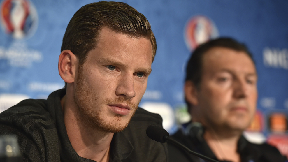 NICE, FRANCE - JUNE 21: In this handout image provided by UEFA, Jan Vertonghen of Belgium faces the media during the Belgium Press Conference on June 21, 2016 in Nice, France. (Photo by Handout/UEFA via Getty Images)