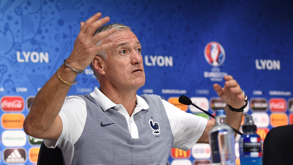 LYON, FRANCE - JUNE 25: In this handout image provided by UEFA, France head coach Didier Deschamps faces the media during the France press conference on June 25, 2016 in Lyon, France. (Photo by Handout/UEFA via Getty Images) Picture credit: UEFA (Handout photo provided by UEFA. Only editorial use relating to the event described is permitted. Photo may be distributed to third parties to use for the same purpose provided that no charge is made).