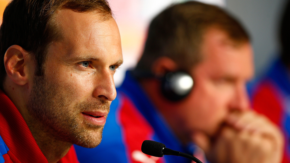 LENS, FRANCE - JUNE 20: Petr Cech of Czech Republic talks to the media during the Czech Republic Press Conference at the Stade Bollaert-Delelis on June 20, 2016 in Lens, France. (Photo by Handout/UEFA via Getty Images) Picture credit: UEFA (Handout photo provided by UEFA. Only editorial use relating to the event described is permitted. Photo may be distributed to third parties to use for the same purpose provided that no charge is made). (Photo by Handout/Getty Images for UEFA)