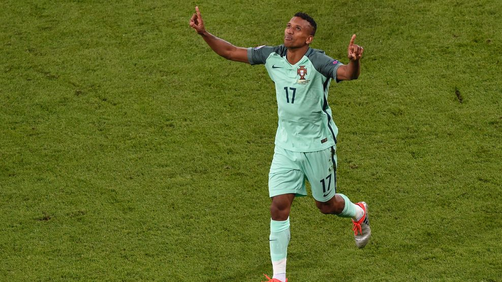 Portugal's forward Nani celebrates after scoring a goal during the Euro 2016 semi-final football match between Portugal and Wales at the Parc Olympique Lyonnais stadium in Décines-Charpieu, near Lyon, on July 6, 2016.. / AFP / JEAN-PHILIPPE KSIAZEK (Photo credit should read JEAN-PHILIPPE KSIAZEK/AFP/Getty Images)