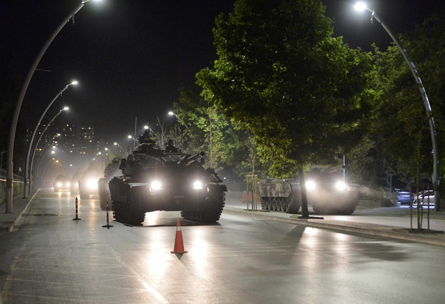 Turkish army tanks drive on a street in Ankara, Turkey July 16, 2016. REUTERS/Tumay Berkin